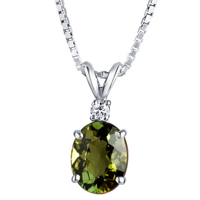 14 Karat White Gold Green Tourmaline Diamond Pendant Oval Shape 2 Carats