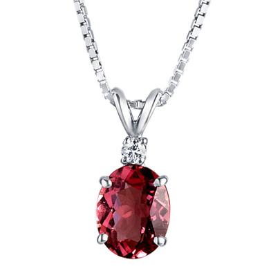 14 Karat White Gold Pink Tourmaline Diamond Pendant Oval Shape 2 Carats