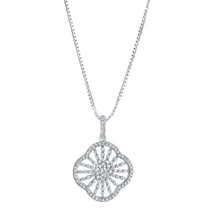 Sterling Silver Simulated Diamonds Mandala Pendant Necklace