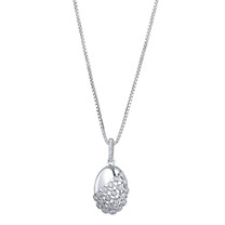 Sterling Silver Simulated Diamonds Weave Pendant Necklace