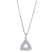 Sterling Silver Simulated Diamonds Triangle Knot Pendant Necklace
