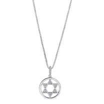 Sterling Silver Simulated Diamonds Star of David Pendant Necklace