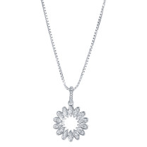Sterling Silver Simulated Diamonds Blossom Pendant Necklace