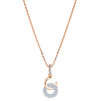 Sterling Silver Simulated Diamonds Eclat Rose Tone Pendant Necklace
