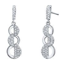 Sterling Silver Simulated Diamonds Cascade Dangle Drop Earrings