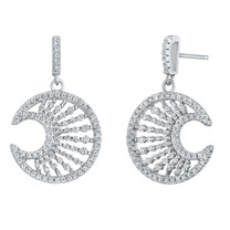 Sterling Silver Simulated Diamonds Crescent Moon Dangle Drop Earrings