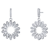 Sterling Silver Simulated Diamonds Blossom Dangle Drop Earrings