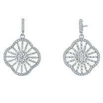 Sterling Silver Simulated Diamonds Mandala Dangle Drop Earrings