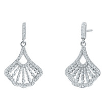 Sterling Silver Simulated Diamonds Mermaid Dangle Drop Earrings