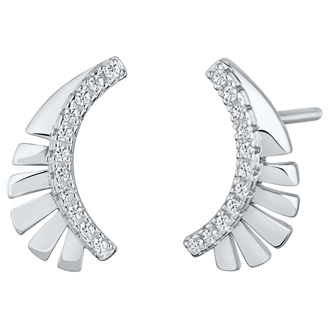 12ebf8563 Sterling Silver Simulated Diamonds Feather Crawler Earrings, SE9060