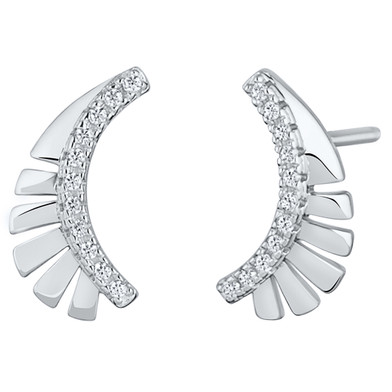 Sterling Silver Simulated Diamonds Feather Crawler Earrings
