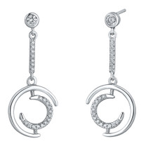 Sterling Silver Simulated Diamonds Double Crescent Dangle Drop Earrings