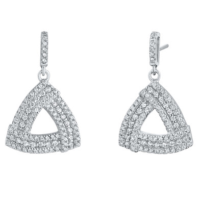 Sterling Silver Simulated Diamonds Triangle Knot Dangle Drop Earrings