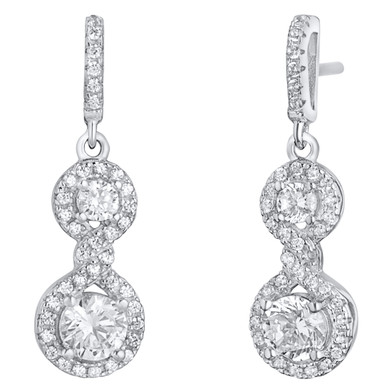 Sterling Silver Simulated Diamonds Double Dangle Drop Earrings