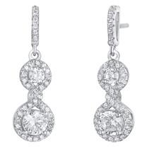 Sterling Silver Simulated Diamonds Double Dangle Drop Earrings