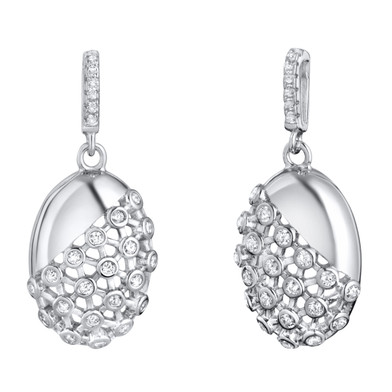 Sterling Silver Simulated Diamonds Weave Dangle Drop Earrings