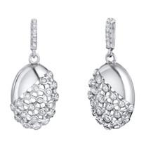 Sterling Silver Simulated Diamonds Weave Dangle Drop Earrings