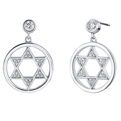 Sterling Silver Simulated Diamonds Star of David Dangle Drop Earrings
