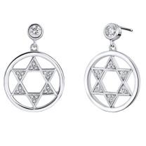Sterling Silver Simulated Diamonds Star of David Dangle Drop Earrings