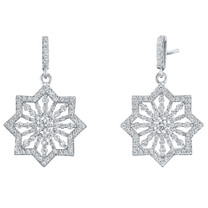 Sterling Silver Simulated Diamonds Astral Dangle Drop Earrings