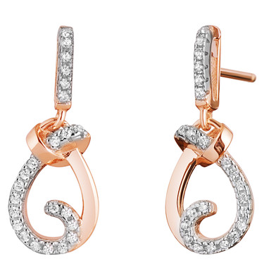 Sterling Silver Simulated Diamonds Knot Rose Tone Dangle Drop Earrings