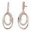 Sterling Silver Simulated Diamonds Double Oval Rose Tone Dangle Drop Earrings