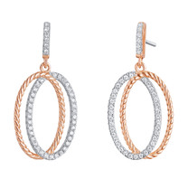 Sterling Silver Simulated Diamonds Twisted Oval Rose Tone Dangle Drop Earrings
