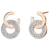 Sterling Silver Simulated Diamonds Eclat Rose Tone Earrings