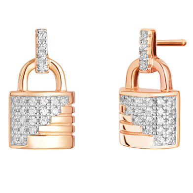 Sterling Silver Simulated Diamonds Ribbed Lock Rose Tone Earrings