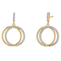 Sterling Silver Simulated Diamonds Duo Circle Yellow Tone Dangle Drop Earrings