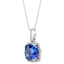 IGI Certified Tanzanite and Diamond 14K White Gold Pendant 3.20 Carats Total Cushion Cut