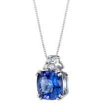 IGI Certified Tanzanite and Diamond 14K White Gold Pendant 2.84 Carats Total Cushion Cut