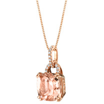 IGI Certified Morganite and Diamond 14K Rose Gold Pendant 3.30 Carats Total Cushion Cut