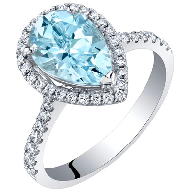 IGI Certified Aquamarine and Diamond 14K White Gold Ring 2.10 Carats Total Pear Shape