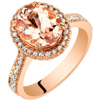 IGI Certified Morganite and Diamond 14K Rose Gold Ring 3.09 Carats Total Oval Shape