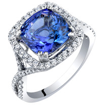 IGI Certified Tanzanite and Diamond 14K White Gold Ring 3.65 Carats Total Cushion Cut