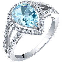 IGI Certified Aquamarine and Diamond 14K White Gold Ring 1.90 Carats Total Pear Shape