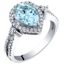 IGI Certified Aquamarine and Diamond 14K White Gold Ring 1.94 Carats Total Pear Shape