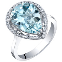IGI Certified Aquamarine and Diamond 14K White Gold Ring 4.01 Carats Total Pear Shape