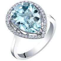 IGI Certified Aquamarine and Diamond 14K White Gold Ring 4.01 Carats Total Pear Shape
