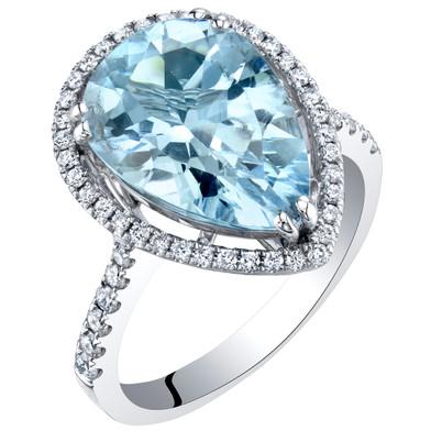 IGI Certified Aquamarine and Diamond 14K White Gold Ring 4.37 Carats Total Pear Shape