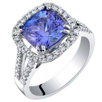 IGI Certified Tanzanite and Diamond 14K White Gold Ring 3.55 Carats Total Cushion Cut