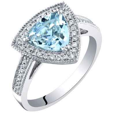IGI Certified Aquamarine and Diamond 14K White Gold Ring 1.70 Carats Total Trillion Cut