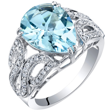IGI Certified Aquamarine and Diamond 14K White Gold Ring 4.11 Carats Total Pear Shape