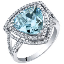IGI Certified Aquamarine and Diamond 14K White Gold Ring 3.58 Carats Total Trillion Cut