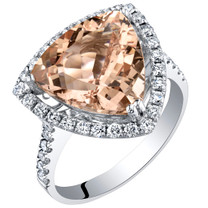 IGI Certified Morganite and Diamond 14K White Gold Ring 5.80 Carats Total Trillion Cut