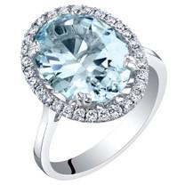 IGI Certified Aquamarine and Diamond 14K White Gold Ring 5.01 Carats Total Oval Shape