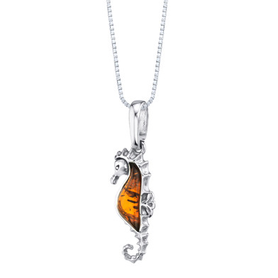 Baltic Amber Sterling Silver Seahorse Pendant Necklace Cognac Color