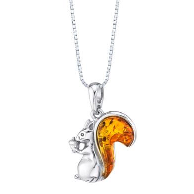 Baltic Amber Sterling Silver Squirrel Pendant Necklace Cognac Color