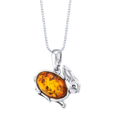 Baltic Amber Sterling Silver Bunny Rabbit Pendant Necklace Cognac Color